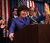 Kathy Hochul speaks to the crowd after being declared the winner of a special election for the NY-26th at UAW Union Hall on May 24, 2011 in Amherst, New York.  Hochul defeated heavily favored Republican candidate Jane Corwin to give the Democrats a seat in the House of Representatives after former representative Christopher Lee resigned amidst a sex scandal.  Photo By Mike Janes/Four Seam Images