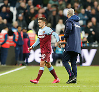 1st February 2020; London Stadium, London, England; English Premier League Football, West Ham United versus Brighton and Hove Albion; West Ham United manager David Moyes shakes hands with Manuel Lanzini at full time