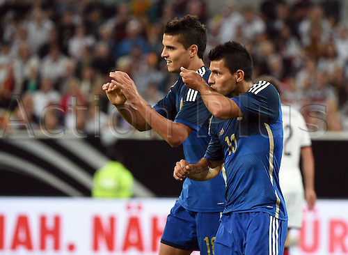 03.09.2014. Esprit Arena, Düsseldorf, Germany. International football friendly match. Celebrations for the goal by Sergio Aguero (Arg) with Erik Lamela (Arg)