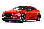 Stock pictures of low aggressive front three quarter view of a 2019 Jaguar I Pace HSE 5 Door Hatchback