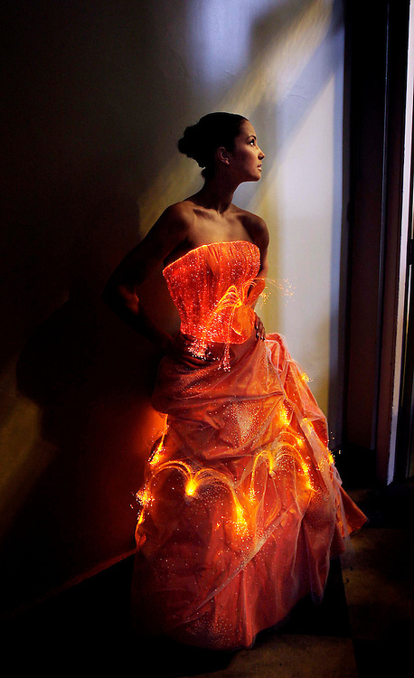 Model, Baiba, brightens up Trinity College in a luminous dress to launch the LIGHTWAVE Festival, the world's first Science Gallery in Pearse Street, Dublin.