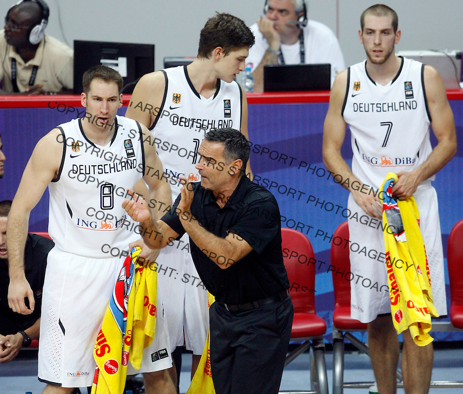 Dirk BAUERMANN, head coach, Christopher MCNAUGHTON (Germany),  Tim OHLBRECHT (Germany) and Tibor PLEISS (Germany) during the World championship basketball match against Angola in Kayseri, Germany-Angola, Turkey on Wednesday, Sep. 01, 2010.(Novak Djurovic/Starsportphoto.com).