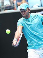 17th January 2019, Melbourne Park, Melbourne, Australia; Australian Open Tennis, day 4; Ivo Karlovic of Croatia returns the balla during a match against Kei Nishiroki of Japan