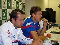 01-02-14,Czech Republic, Ostrava, Cez Arena, Davis Cup Czech Republic vs Netherlands, ,  Press conference  Berdych/Stepanek(L)(CZE)<br /> Photo: Henk Koster