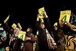 Il leader democratico Mohamed Nasheed la sera del comizio finale prima del voto, migliaia di persone si sono riunite nelle piazze di Male