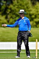 A Umpire during the National Primary School Cup Final between Raroa Normal Intermediate School v Kings Prep at the Bert Sutcliffe Oval, Lincoln University, Christchurch, New Zealand. Wednesday 22 November 2017. Photo: John Davidson/www.bwmedia.co.nz