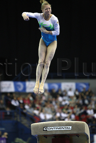 Ekaterina Kurbatova of Russia competes at the vault during the senior women apparatus final at the European Artistic Gymnastics Championship at National Indoor Arena in Birmingham, UK on May 2, 2010.