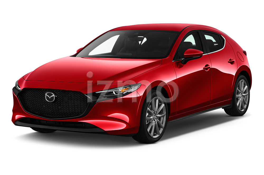 2019 Mazda Mazda-3 - 5 Door Hatchback Angular Front stock photos of front three quarter view