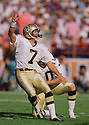 New Orleans Saints Morten Andersen (7) during game from his 1988 season. Morten Andersen played for 25 season with 5 different teams and was an 7-time Pro Bowler.<br /> <br /> (SportPics)