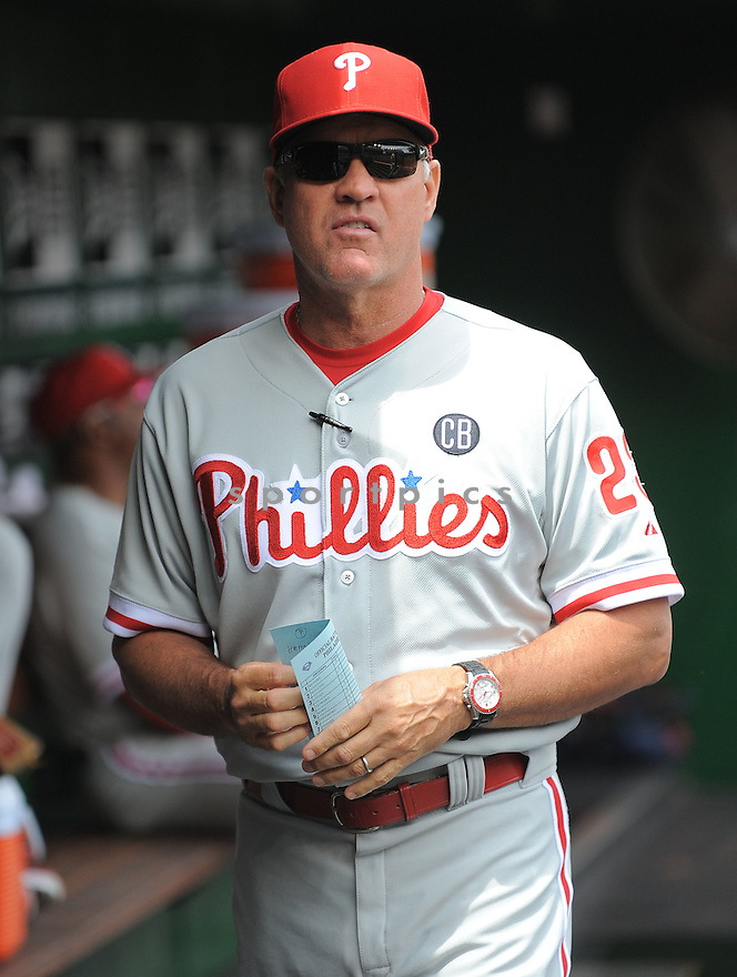 Philadelphia Phillies Ryne Sandberg (23) during a game against the Washington Nationals on August 3, 2014 at Nationals Park in Washington, DC. The Nationals beat the Phillies 4-0.