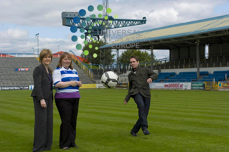 SNP campaigning in Inverclyde. SNP candidate for the Inverclyde by-election Anne McLaughlin will be joined by SNP Depute Leader Nicola Sturgeon and Greenock-born actor Martin Compston for a visit to Greenock Morton Football Club's home ground, Cappielow Park. Picture: Thomas Smillie/Universal News And Sport (Europe) All pictures must be credited to www.unpixs.com. (0ffice) 0844 884 51 22. 20 June 2011.