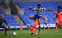 7th July 2020; Madejski Stadium, Reading, Berkshire, England; English Championship Football, Reading versus Huddersfield; Andy Rinomhota of Reading is unable to control the cross under pressure  from Chris Willock of Huddersfield