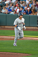 Dan Vogelbach (33) of the Tacoma Rainiers during the game against the Salt Lake Bees in Pacific Coast League action at Smith's Ballpark on July 23, 2016 in Salt Lake City, Utah. The Rainiers defeated the Bees 4-1. (Stephen Smith/Four Seam Images)