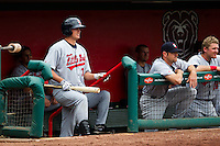 Dillon Baird (39) of the Arkansas Travelers stands in the dugout prior to being on deck during a game against the Springfield Cardinals on May 10, 2011 at Hammons Field in Springfield, Missouri.  Photo By David Welker/Four Seam Images.