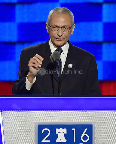 John Pedesta, Clinton Campaign Chair, makes remarks at the 2016 Democratic National Convention at the Wells Fargo Center in Philadelphia, Pennsylvania on Monday, July 25, 2016.<br /> Credit: Ron Sachs / CNP/MediaPunch<br /> (RESTRICTION: NO New York or New Jersey Newspapers or newspapers within a 75 mile radius of New York City)