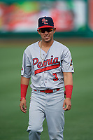 Peoria Chiefs Jonatan Machado (3) during warmups before a Midwest League game against the Fort Wayne TinCaps on July 17, 2019 at Parkview Field in Fort Wayne, Indiana.  Fort Wayne defeated Peoria 6-2.  (Mike Janes/Four Seam Images)
