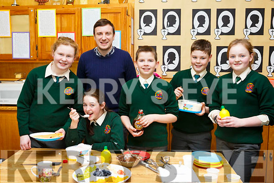 The students of Scartaglin National School celebrating Pancake Tuesday and fundraising in aid of the Ronald McDonald House at Crumlin Children's Hospital. L-r, Shauna McCarthy, Marion Rahilly, Sean McCarthy, Cillian Reidy, Maura Collins and Paul Moroney (Teacher).