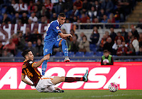 Calcio, Serie A: Roma vs Empoli. Roma, stadio Olimpico, 17 ottobre 2017.<br /> Empoli&rsquo;s Rade Krunic, right, is tackled by Roma&rsquo;s Kostas Manolas, during the Italian Serie A football match between Roma and Empoli at Rome's Olympic stadium, 17 October 2015.<br /> UPDATE IMAGES PRESS/Isabella Bonotto