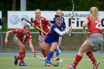 GER - Mannheim, Germany, April 22: During the German Hockey Bundesliga women match between Mannheimer HC (blue) and Club an der Alster (red) on April 22, 2017 at Am Neckarkanal in Mannheim, Germany. Final score 1-1 (HT 1-0).  Hanna Granitzki #18 of Club an der Alster, Cecile Pieper #3 of Mannheimer HC<br /> <br /> Foto &copy; PIX-Sportfotos *** Foto ist honorarpflichtig! *** Auf Anfrage in hoeherer Qualitaet/Aufloesung. Belegexemplar erbeten. Veroeffentlichung ausschliesslich fuer journalistisch-publizistische Zwecke. For editorial use only.