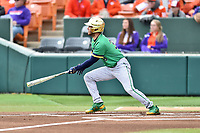 Notre Dame Fighting Irish left fielder Jake Johnson (39) swings at a pitch during a game against the Clemson Tigers at Doug Kingsmore Stadium on March 11, 2017 in Clemson, South Carolina. The Tigers defeated the Fighting Irish 6-5. (Tony Farlow/Four Seam Images)
