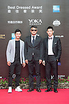 Cao Weiyu (sunglasses), Xing Aowei (grey jacket), Jarvis Wu (necktie) on the Red Carpet event at the World Celebrity Pro-Am 2016 Mission Hills China Golf Tournament on 20 October 2016, in Haikou, China. Photo by Weixiang Lim / Power Sport Images
