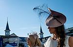 November 3, 2018 : Women wear fancy fascinators on Breeders Cup World Championships Saturday at Churchill Downs on November 3, 2018 in Louisville, Kentucky. Scott Serio/Eclipse Sportswire/CSM