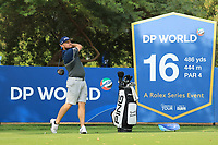 Tyrrell Hatton (ENG) in action during previews ahead of the DP World Championship, Earth Course, Jumeirah Golf Estates, Dubai, UAE. 19/11/2019<br /> Picture: Golffile | Phil INGLIS<br /> <br /> <br /> All photo usage must carry mandatory copyright credit (© Golffile | Phil INGLIS)