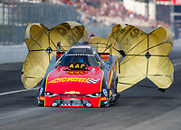Feb 10, 2018; Pomona, CA, USA; NHRA funny car driver Courtney Force during qualifying for the Winternationals at Auto Club Raceway at Pomona. Mandatory Credit: Mark J. Rebilas-USA TODAY Sports