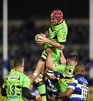 Christian Day of Northampton Saints wins the ball. Aviva Premiership match, between Bath Rugby and Northampton Saints on February 9, 2018 at the Recreation Ground in Bath, England. Photo by: Patrick Khachfe / Onside Images