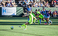 Seattle, WA - Saturday July 23, 2016: Kim Little scores on a penalty kick during a regular season National Women's Soccer League (NWSL) match between the Seattle Reign FC and the Orlando Pride at Memorial Stadium.