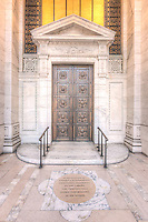 Bronze doors adorn the main entrance to the New York Public Library's Beaux-Arts Stephen A. Schwarzman Building on 42nd Street in New York City.