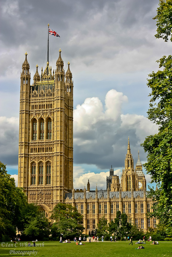 The London Houses of Parliament as scene from the lawn