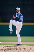 Columbus Clippers relief pitcher Cole Sulser (50) delivers a pitch during a game against the Gwinnett Stripers on May 17, 2018 at Huntington Park in Columbus, Ohio.  Gwinnett defeated Columbus 6-0.  (Mike Janes/Four Seam Images)
