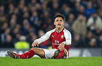a frustrated Alexis Sanchez of Arsenal during the Carabao Cup semi final 1st leg match between Chelsea and Arsenal at Stamford Bridge, London, England on 10 January 2018. Photo by Andy Rowland.