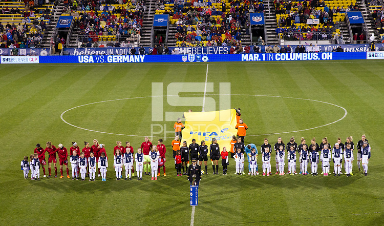 Columbus, Ohio - Thursday March 01, 2018: USWNT and Germany starting line up's during a 2018 SheBelieves Cup match between the women's national teams of the United States (USA) and Germany (GER) at MAPFRE Stadium.