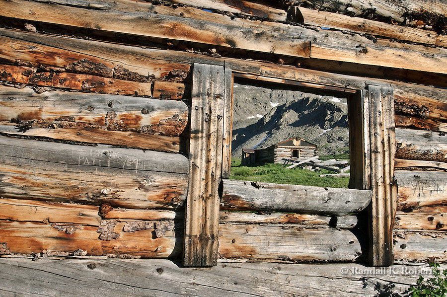 View of historic alpine mining structures, Boston Mine, Mayflower Gulch, Colorado