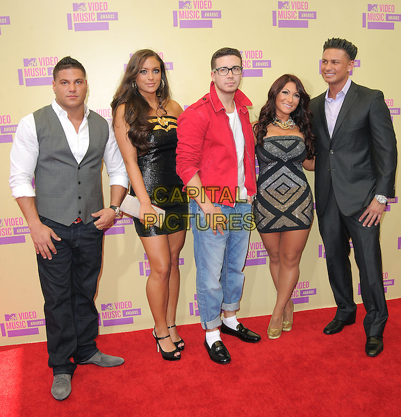 "Ronnie Ortiz-Magro, Sammi ""Sweetheart"" Giancola, Vinny Guadagnino, Deena Nicole Cortese & Paul DelVecchio (aka. ""DJ Pauly D"") of Jersey Shore.Arrivals at The 2012 MTV Video Music Awards held at Staples Center in Los Angeles, California, USA..September 6th, 2012.VMA's VMAS VMA full length red jacket glasses white top jeans denim black grey gray waistcoat gold dress suit                                                     .CAP/DVS.©DVS/Capital Pictures."