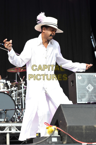 Larry Graham.Day 3 of the Hop Farm Festival, nr Paddock Wood, Kent, England..July 3rd 2011 .stage concert live gig performance music full length white hat fedora top arms dance dancing moustache mustache facial hair .CAP/MAR.© Martin Harris/Capital Pictures.