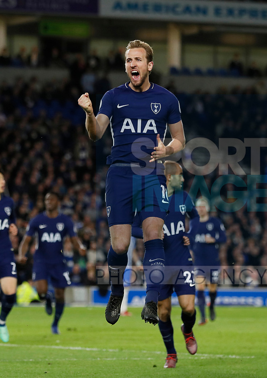 Harry Kane of Tottenham celebrates scoring the first goal during the premier league match at the Amex Stadium, London. Picture date 17th April 2018. Picture credit should read: David Klein/Sportimage