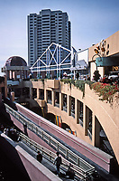 Horton Plaza, San Diego. Architect Jon Jerde. Opened in 1985. Lots of bridges and walkways.  Photo Jan. 1987.