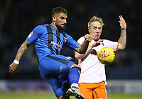 Gillingham's Max Ehmer and Blackpool's Mark Cullen<br /> <br /> Photographer Rachel Holborn/CameraSport<br /> <br /> The EFL Sky Bet League One - Gillingham v Blackpool - Tuesday 6th November 2018 - Priestfield Stadium - Gillingham<br /> <br /> World Copyright &copy; 2018 CameraSport. All rights reserved. 43 Linden Ave. Countesthorpe. Leicester. England. LE8 5PG - Tel: +44 (0) 116 277 4147 - admin@camerasport.com - www.camerasport.com