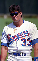 Texas Rangers Jose Canseco during Spring Training 1993 at Charlotte County Stadium in Port Charlotte, Florida.  (MJA/Four Seam Images)