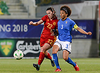 20180307 - LARNACA , CYPRUS : Italian Sara Gama (right) pictured in a duel with Spanish Eunate Arraiza Otazu (left) during a women's soccer game between Italy and Spain , on wednesday 7 March 2018 at the AEK Arena in Larnaca , Cyprus . This is the final game for the first place  for  Italy and  Spain on the Cyprus Womens Cup , a prestigious women soccer tournament as a preparation on the World Cup 2019 qualification duels. PHOTO SPORTPIX.BE | DAVID CATRY