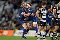 Josh Dickson and Mitchell Scott of Otago celebrate winning the 2018 Mitre 10 Cup Championship rugby semifinal between Canterbury and Counties Manukau at Forsyth Barr Stadium in Dunedin, New Zealand on Saturday, 20 October 2018. Photo: Joe Allison / lintottphoto.co.nz