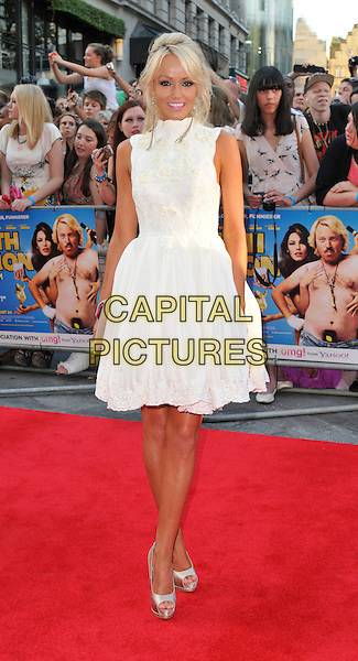 Hayley Roberts.'Keith Lemon: The Film' Premiere, Odeon West End cinema, Leicester Square, London, England..20th August 2012.full length dress silver shoes white sleeveless lace  .CAP/WIZ.© Wizard/Capital Pictures.