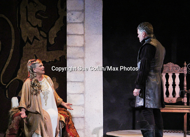 """Guiding Light's Kim Zimmer and Robert Newman star in """"Lion in the Winter"""" as Queen Eleanor and Henry II - King of England July 25 through August 6 - this being the Dress Rehearsal at The Barn Theatre, Augusta, Michigan. (Photo by Sue Coflin/Max Photos)"""