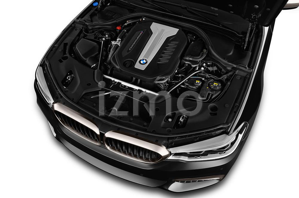 Car stock 2018 BMW 5 Series base 4 Door Sedan engine high angle detail view