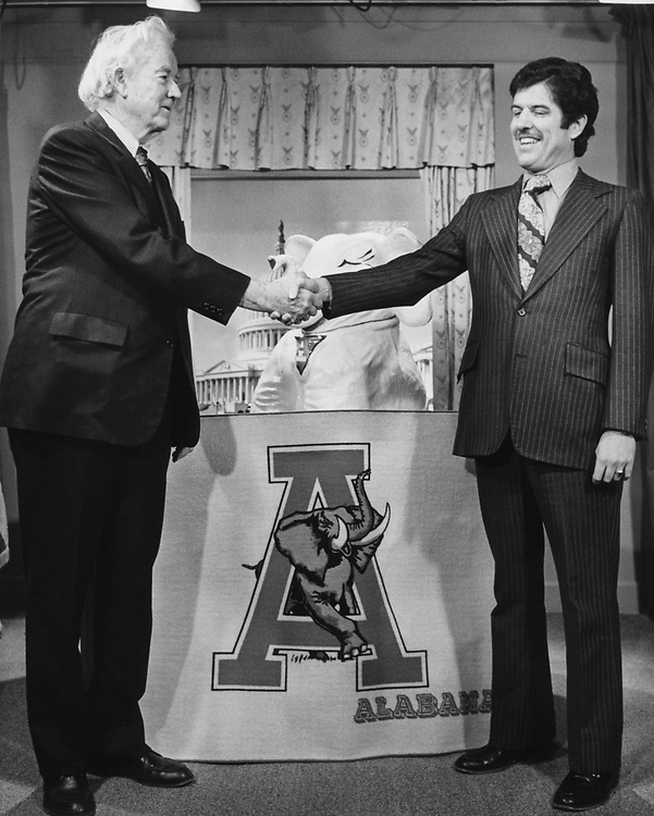 Sen. John Sparkman, D-Ala., shaking hand with party member in 1978. (Photo by CQ Roll Call)