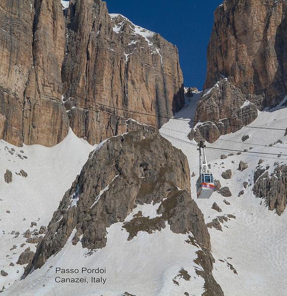 Gondola ascends from Passo Pordoi to the Sella Groupa, Dolomites, Italy