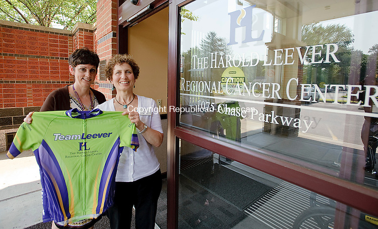WATERBURY, CT-17 JULY 2012--071712JS01- Karen Sabbath, right, an oncology dietitian at the Harold Leever Cancer Center in Waterbury, is the team captain for the 32-member cycling team, that will also include Deb Parkinson, left, the center's operations manager, in the eighth annual Connecticut Challenge bike run in Westport on July 28. .Jim Shannon Republican-American